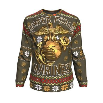 US Marine Corps Semper Fidelis Ugly Christmas Sweater