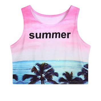 Crop Top Print Slim Summer Gradient Tank Top = 4824034564
