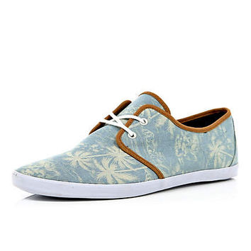 Blue palm tree print lace up plimsolls - plimsolls / sneakers - shoes / boots - men