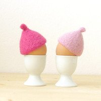 Egg cosies for Easter - Pink pastel - felted acorn cap - Set of two - House warming gift - table decor