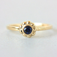Blue Sapphire Engagement Ring Sapphire 14k Yellow Gold Ring Natural Blue Sapphire Gold Ring Made in Your Size Blue Sapphire Engagement Ring