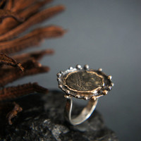 Roman coin ring, ancient coin ring, sterling silver and gold ring, statement ring, ancient jewelry, antique coin ring, unique ring size 5