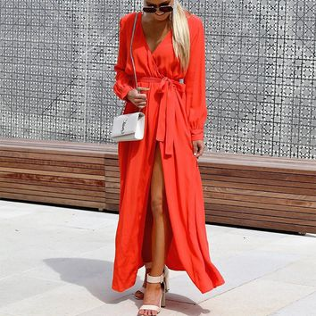 DeRuiLaDy 2018 Fashion Women Long Dress Sexy V Neck Long Sleeve Lace Up Split Maxi Dresses Autumn Winter Casual Dress Vestido