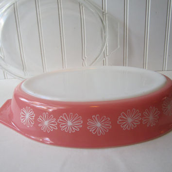 Vintage Pyrex Pink Daisy Divided Casserole with Lid