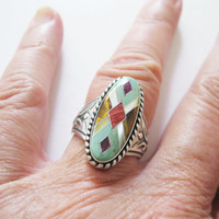 Carolyn Pollack Relios Oval Ring Multi Gemstone Sterling Silver Retired QVC Size 7