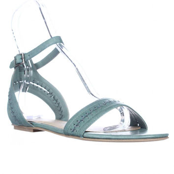 A.R. Teagan Flat Ankle Strap Stitch Sandals - Summer Blue
