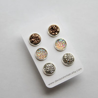 Faux Druzy Earring Set - Posts - Bronze, Cream/Light Rainbow, Silver MEDIUM 10mm