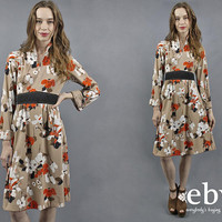 1970s Dress 70s Dress Kimono Dress Hippie Dress Hippy Dress Floral Dress Boho Dress Empire Waist Dress 70s Kimono 1970s Kimono M
