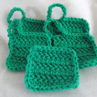 Green Face Washcloths Set of 5