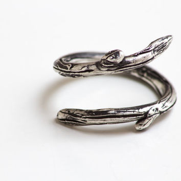 Sterling Silver Twig Ring- Twig Thumb Ring-Tree Branch Adjustable Ring-Under 50