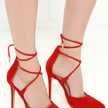 LULUS Michele Red Lace-Up Heels
