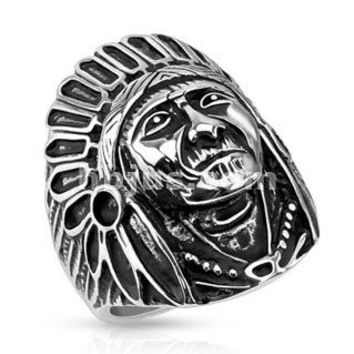 The Big Chief – Indian chief headdress war bonnet black oxidized stainless steel men's ring