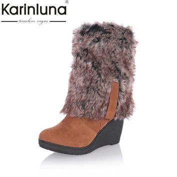 KARINLUNA 2017 large size 34-43 Fashion Women Snow Boots Warm Fur Shoes Wedge high Heel Shoes Platform knee high Boots Winter