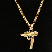 1PC Supreme Unisex Men Gold Machine Gun Pendant Necklace Long Chain Jewelry New