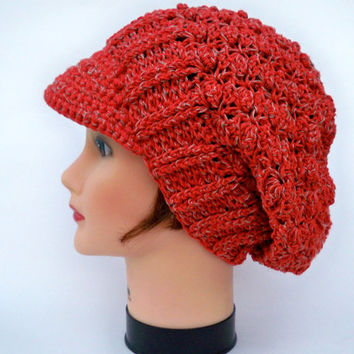 Women's Crochet Cap - Red Orange Newsboy Hat - Brimmed Beanie - Slouchy Visor Tam - Crochet Accessories - All Seasons Hat
