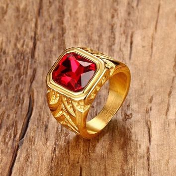 Mens Fire Red Cubic Zirconia Crystal Rings for Men Gold Tone Stainless Steel Engraving Male Hip-hop Jewelry