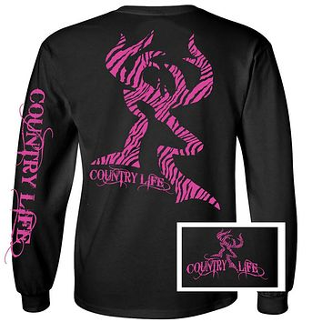 Country Life Outfitters Black & Pink Zebra Deer Head Hunt Vintage Long Sleeve Bright T Shirt