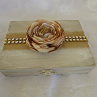Rustic Shimmery Ivory and Gold Aged  His Hers Divided Wedding Ring Bearers Box Rhinestone Trim Flower