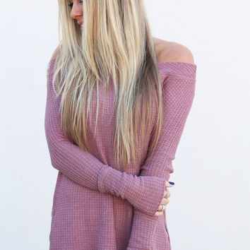 Off The Shoulder Spring Thermal {Mauve}