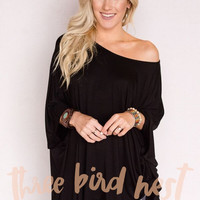 Kimono Sleeve Knit Tunic Top In Black