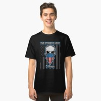 'Q Anon The Storm Is Here Patriotic Flag Skull' Classic T-Shirt by EPDLLC