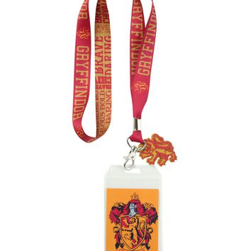Licensed cool Harry Potter School House GRYFFINDOR ID Card Holder Neckstrap Lanyard W/ Charm