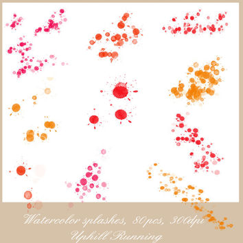 Watercolor splashes, paint splatters clipart, 40xPNG + 40xJPG, 300 dpi, Instant download, scrapbooking clipart overlays