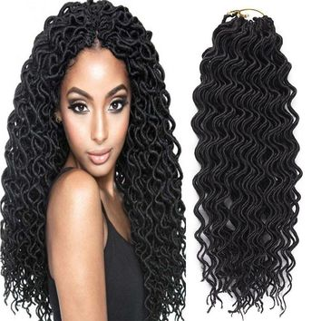 Mother's Day Gifts 6 Packs Curly Faux Locs Crochet Hair Deep Wavy Crochet Braids Synthetic Hair Crochet Extensions Dreadlocks Goddess Locs Braid Hair(20 Inch 1B)