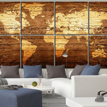 Canvas Art Print WORLD MAP on Rustic Wood - 8 Panel Vintage World Map Canvas Art Print - Retro World Map