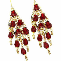 Red Beads Chandelier Dangle Gold Plated Earrings