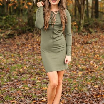 The World Is Yours Dress-Olive