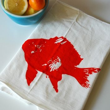 Orange Fish Tea Towel Pair