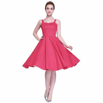 Heroecol Women V Neck Strap Sleeveless Vintage 50s 60s Swing Style Dresses Rockabilly 1950s 50's Party Pink Dress