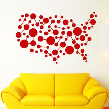 Vinyl Wall Decal Abstract World Map Balloons Cell Room Decoration Stickers Unique Gift (1762ig)