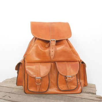 Extra Large Caramel Orange Leather backpack satchel bag Handmade Soft Leather School College Travel Picnic Weekend bag