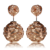 Gum Tee Mise en Style Tribal Earrings - Golden Spiral