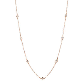 18K Rose Gold Plated CZ Station Chain Necklace