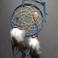 6 inch Dream Catcher Arrowhead Blue Suede Leather Native American Home Decor Handcrafted