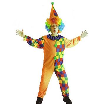 Kids Children Happy Circus Clown Cosplay Costume For Boys Girls Fancy Dress Carnivals Costume 4-12years