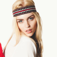 Handmade Headband Red Black & White 'Navajo' Print Headband. Made from Vintage Fabric FREE SHIPPING (Domestic U.S)