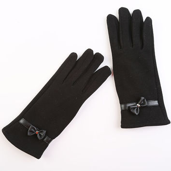 Winter Gloves women Touch Screen Fashion solid rosette Wrist Gloves Mittens for Girls Wrist Heated Lace Gloves for Women Outdoor