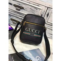Gucci Trending Stylish Leather Print Zipper Single Shoulder Bag Handbag Crossbody Satchel(3-Color) Black I-AGG-CZDL