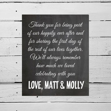 Wedding Thanks From The Bride And Groom DIY Printable Chalkboard Wedding Decor Simple Wedding Sign Grateful Gratitude Poster Family Friends