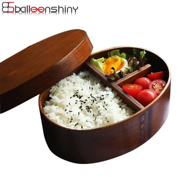BalleenShiny Wooden Lunch Box Handmade Rice Bowl Japanese Bento Natural Paint Sushi Box Dinnerware Food Container Tableware