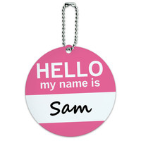 Sam Hello My Name Is Round ID Card Luggage Tag