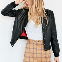 Silence + Noise Baseball Vegan Leather Bomber Jacket - Urban Outfitters