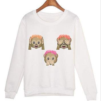 2016 Autumn Casual Cartoon kawaii Cute 3D hoodie Sweatshirt Women Monkeys Adventure Time Sweat shirt Hoddies