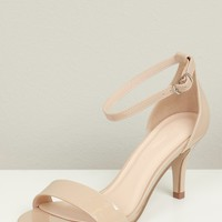 Two Strap Low Heel Dark Beige