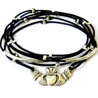 Claddagh Bracelet Set (Black and Sterling Silver)