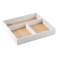 InterDesign Realwood Bathroom drawer Organizer for Vanity To Hold Makeup, Beauty Products - 3 Compartments, White/Light Wood Finish